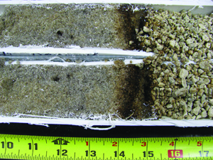 Iron-cemented layers in putting green soils: photo 1